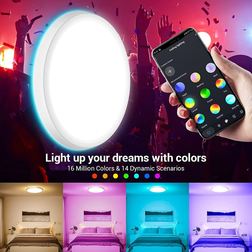 MikeWin Smart LED Ceiling Light Fixtures colors