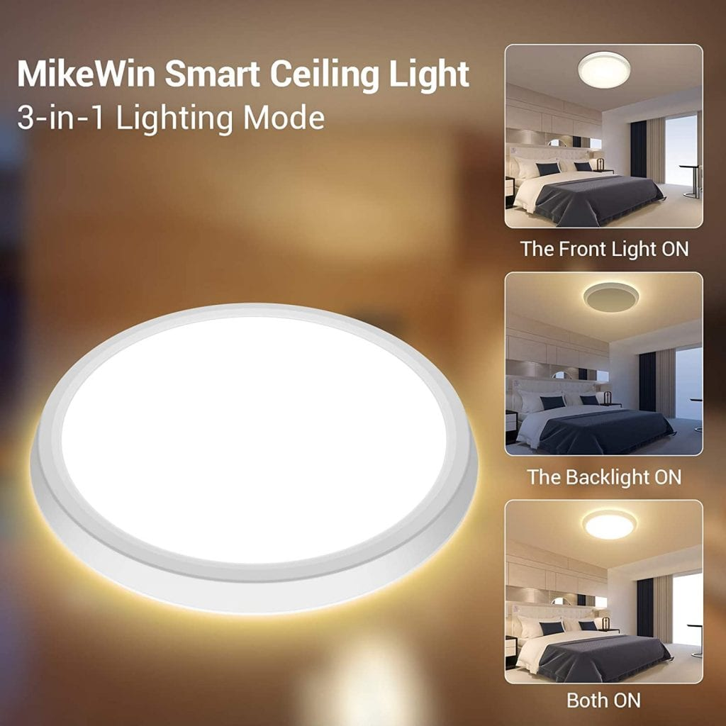 MikeWin Smart LED Ceiling Light Fixtures front and back lights