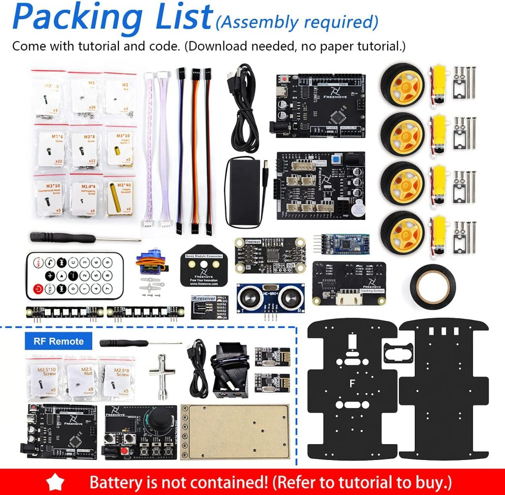 FREENOVE-4WD-Car-Kit-with-RF-Remote-packing-list