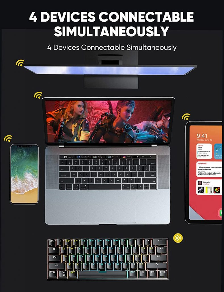 Mechanical Gaming Keyboard 4 devices connectable simultaneouly